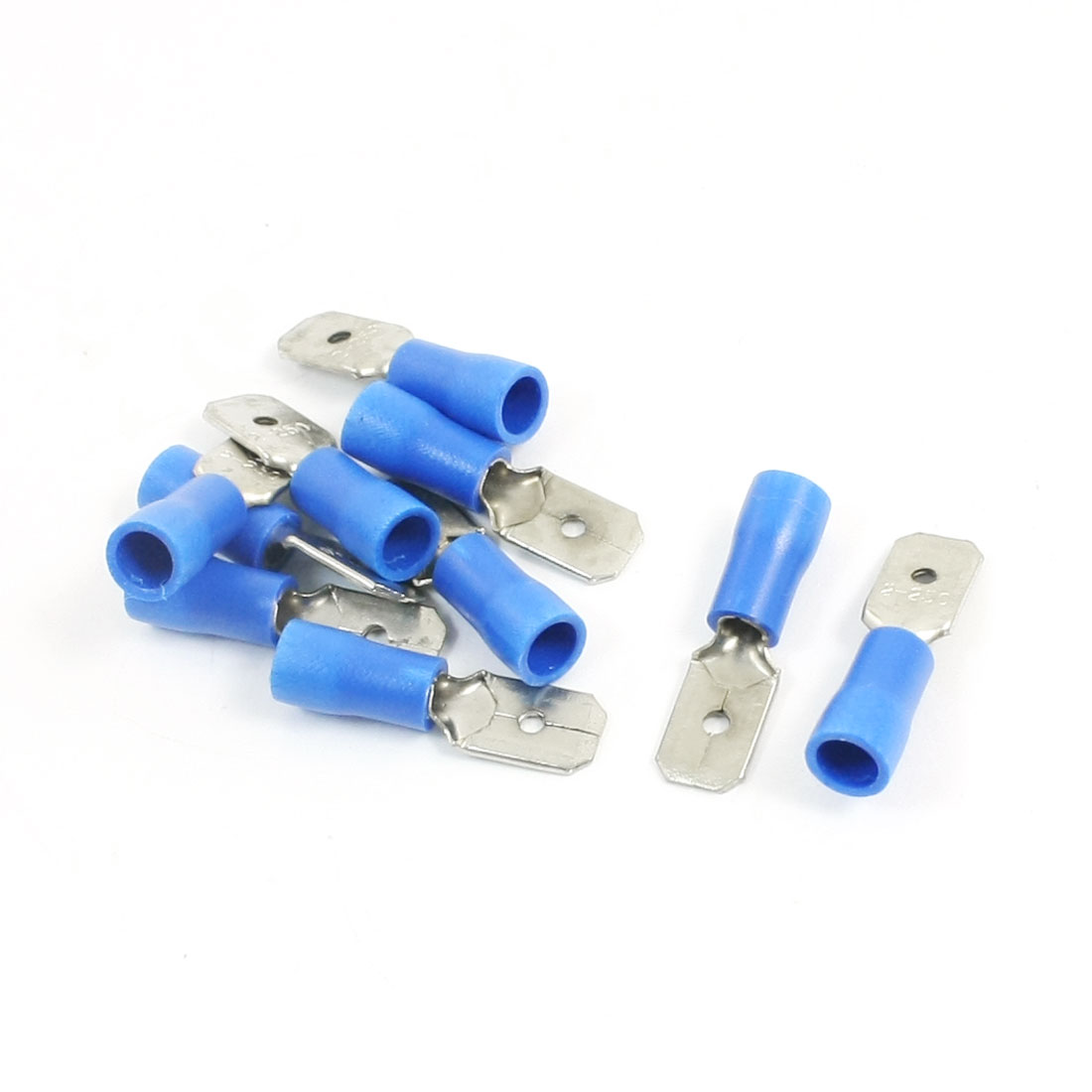 10Pcs 16-14 AWG MDD2-250 Blue PVC Sleeve Insulated Cable Terminals Crimp