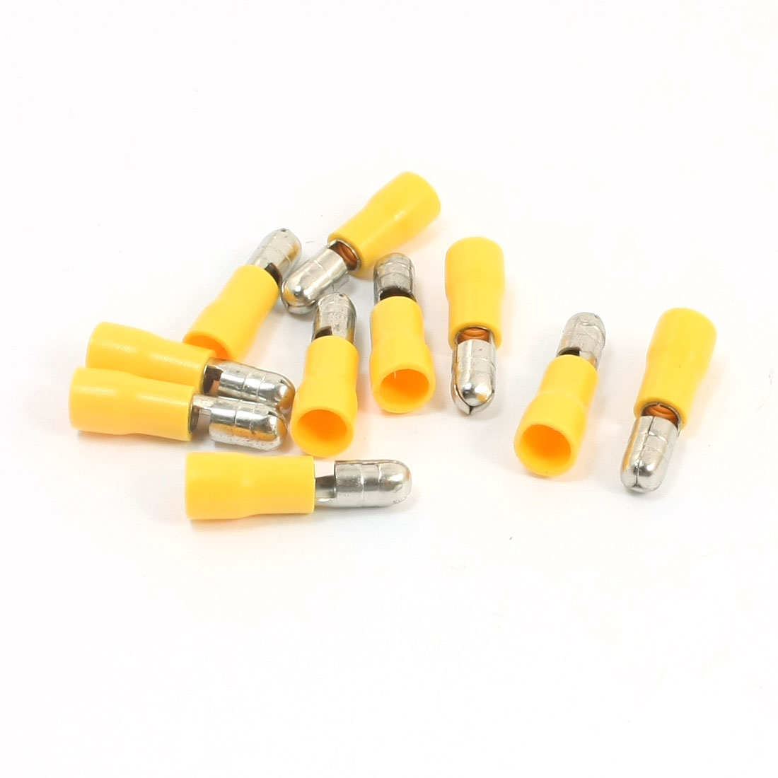 10Pcs 12-10AWG MPD5-195 Yellow PVC Sleeve Insulated 5mm Cable Terminals Crimp