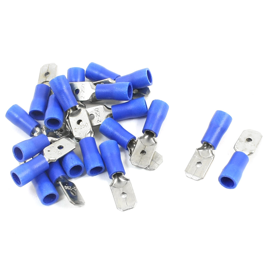 20Pcs 16-14 AWG MDD2-250 Blue PVC Sleeve Insulated Cable Terminals Crimp