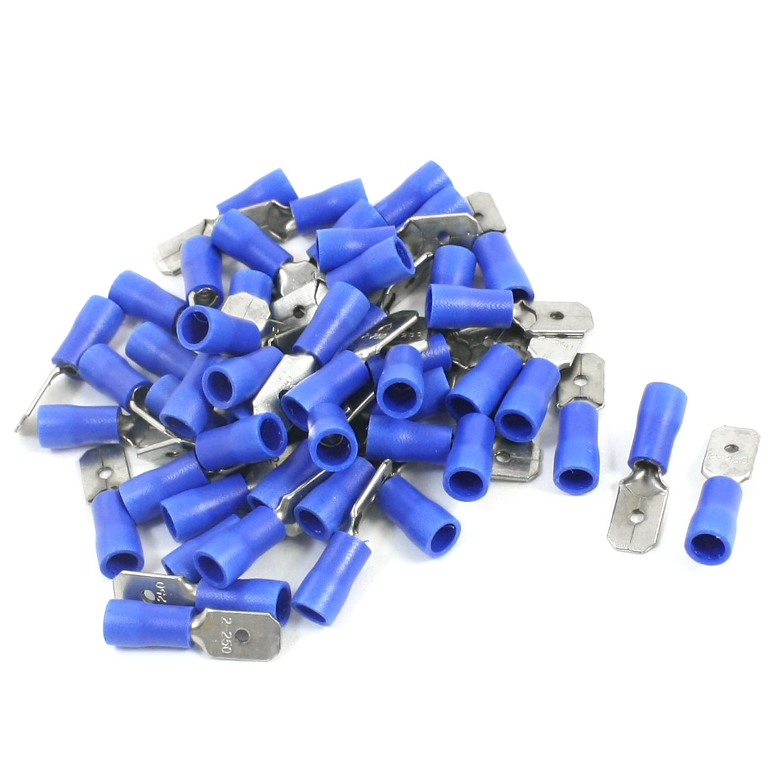 50Pcs 16-14 AWG MDD2-250 Blue PVC Sleeve Insulated Cable Terminals Crimp