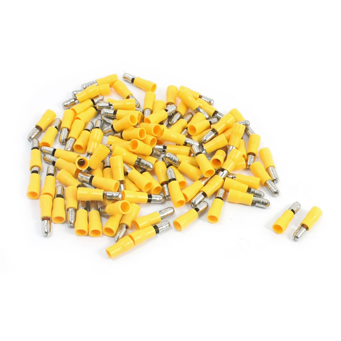 100Pcs 12-10AWG MPD5-195 Yellow PVC Sleeve Insulated 5mm Cable Terminals Crimp