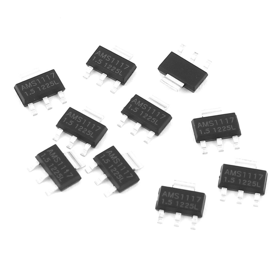 10 Pcs AMS1117-1.5 1.5V SOT-223 Low Dropout Voltage Linear Regulator IC