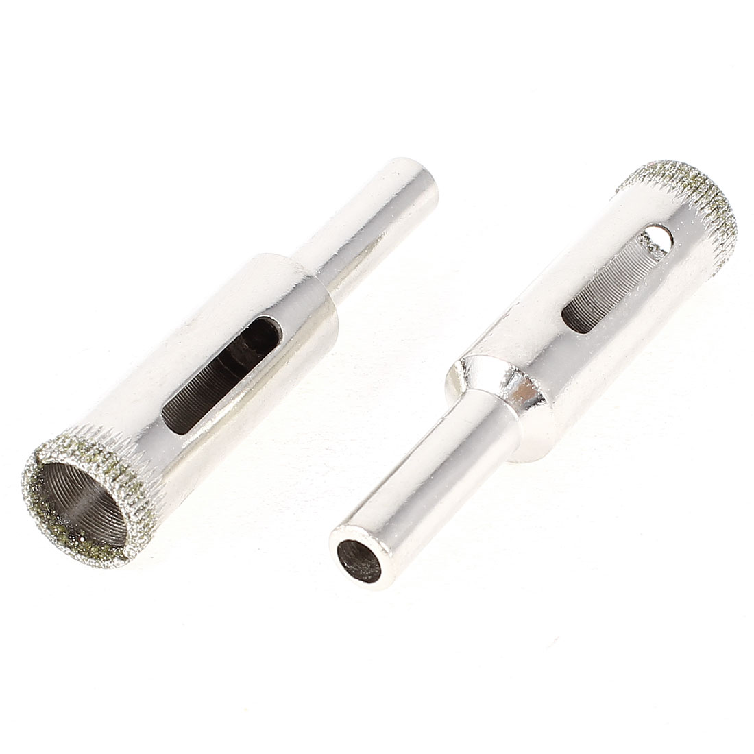 55mm Long 12mm Diamond Tool Granite Tile Glass Hole Saw Silver Tone 2pcs