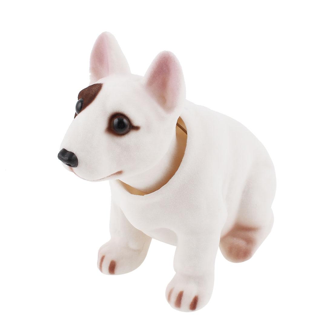 Car Interior Decoration Bobbing Head Bulldog Shape Nodding Dog White Brown