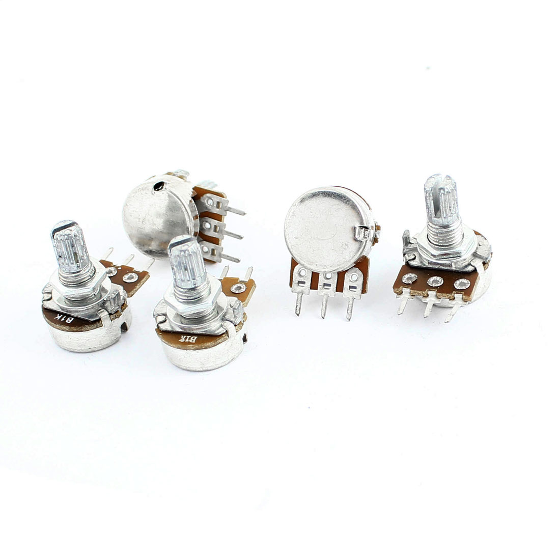 5 Pcs 1K Ohm 6mm Knurled Shaft 3 Terminals Single Linear B Type Rotary Adjustable Taper Potentiometer