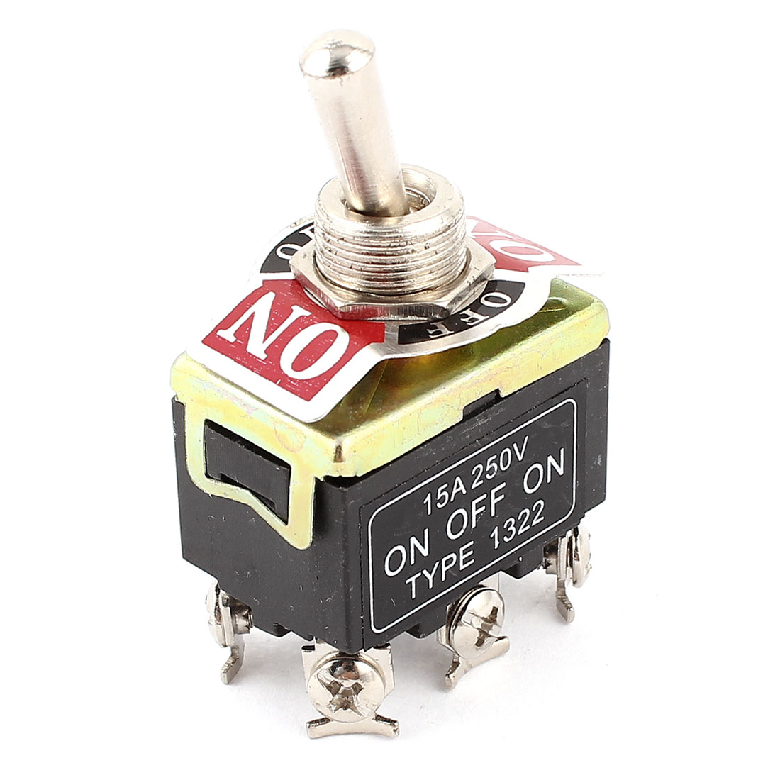 AC 250V 15A DPDT ON/OFF/ON 3 Position 6 Pin Toggle Switch Black