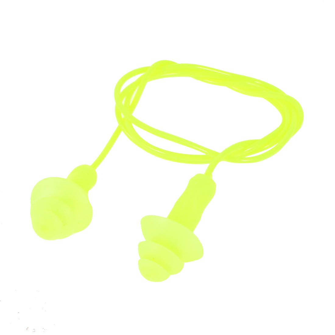 "Yellow Silicone Round Shape Wired Earplugs 20"" String Length for Swimming"