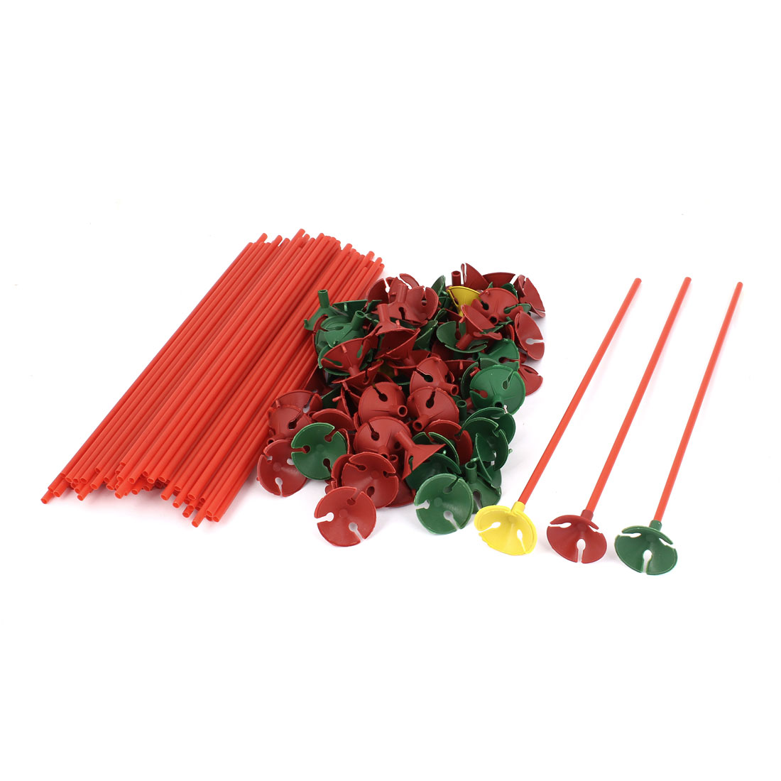 Party Festival Decoration Plastic Balloon Sticks w Cups Red 100 Pcs