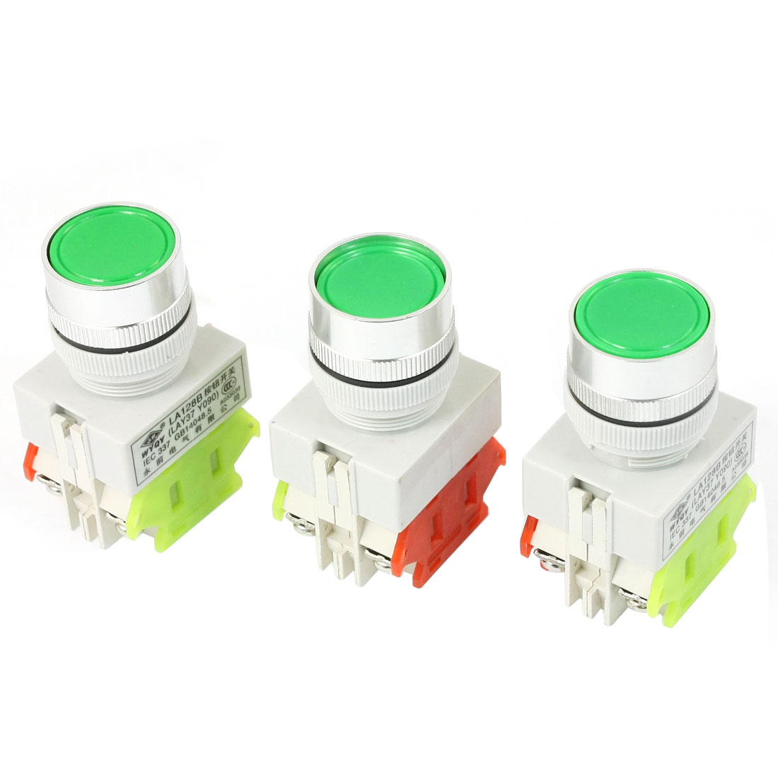 3 Pcs Ui 660V Ith 10A 24mm Thread Panel Mounting DPST 1NO 1NC 4 Screw Terminals Latching Push Button Switch