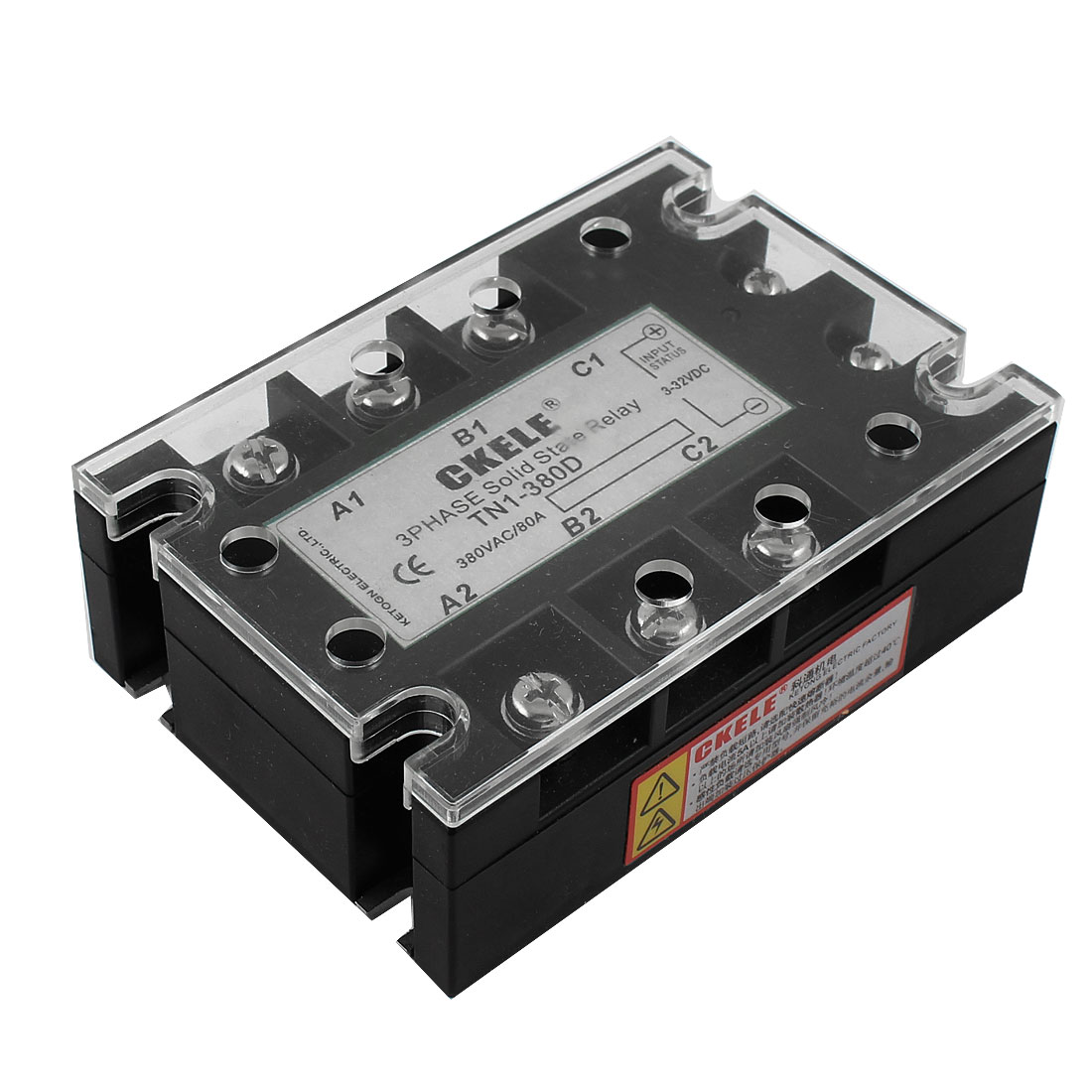 Panel Mounted 3 Phase SSR Solid State Relay DC 3-32V AC 380V 80A TN1/380D