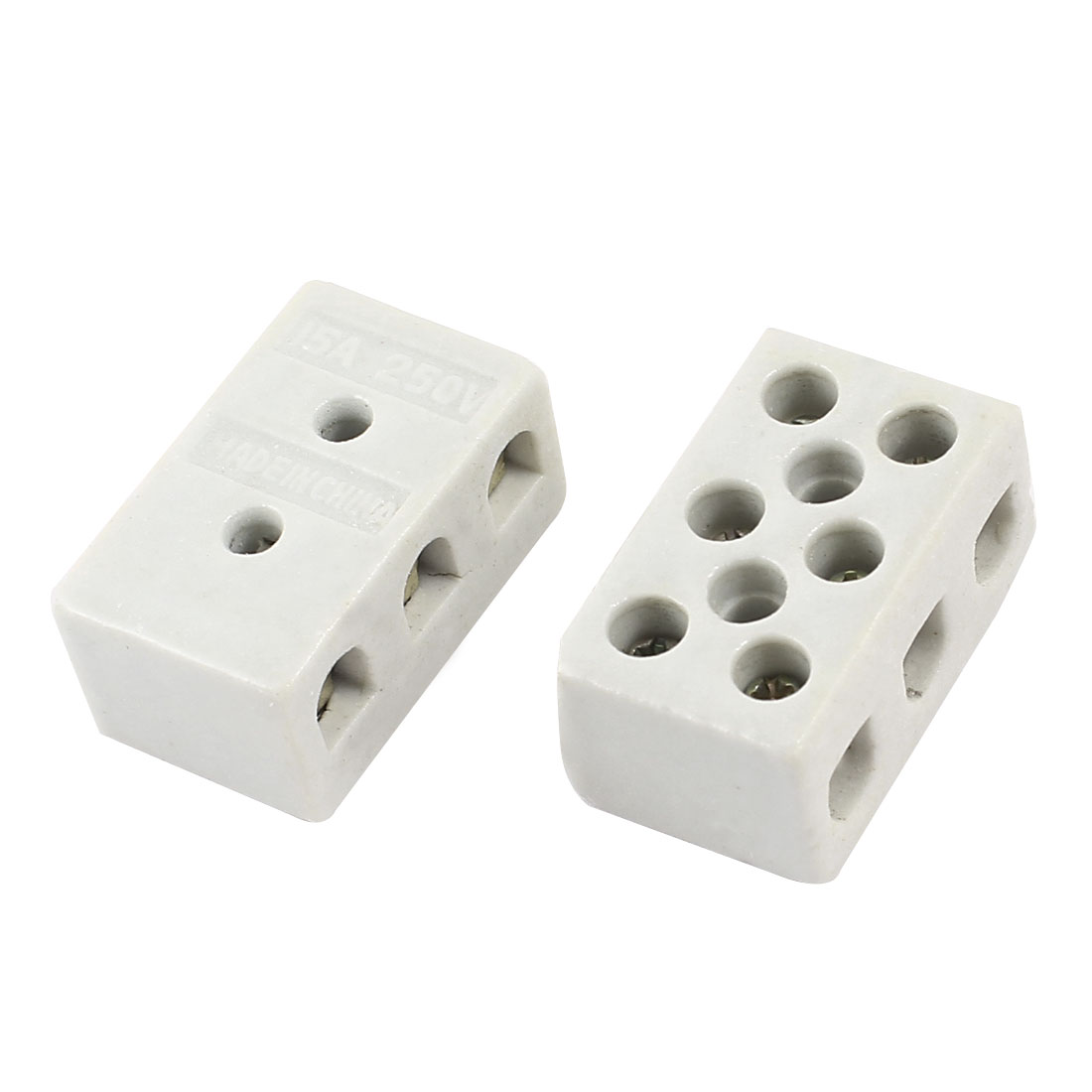 2 Pcs 8 Hole 2W8H High Temperature Resistant Ceramic Terminal Block 15A 250V