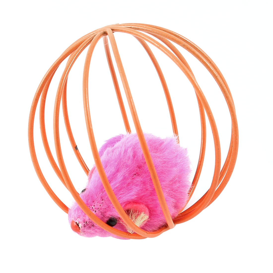 Fuchsia Fake Mouse Rat In Orange Ball Shape Cage Pet Toy for Cat Playing