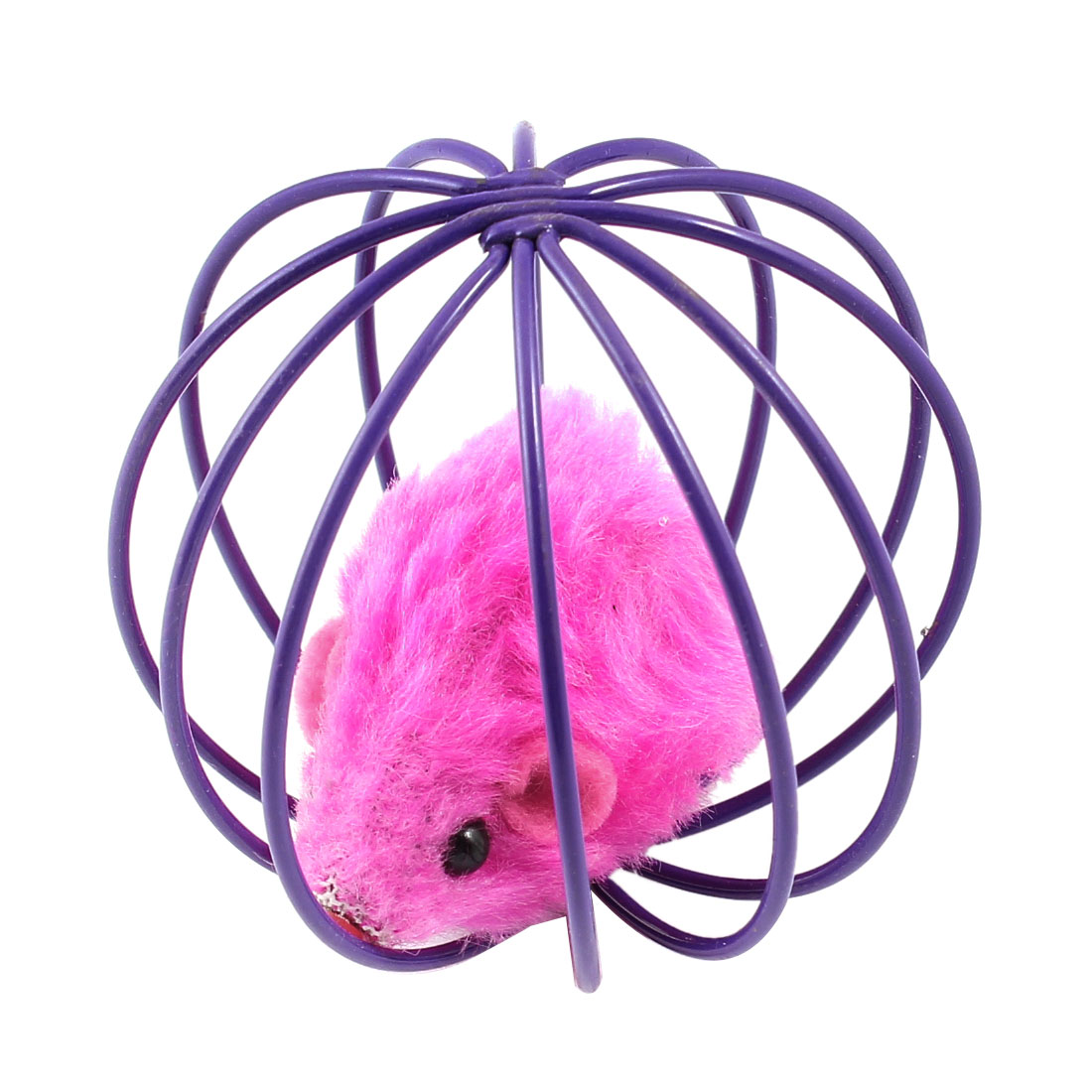 Fuchsia Fake Mouse Rat In Purple Ball Shape Cage Pet Toy for Cat Playing