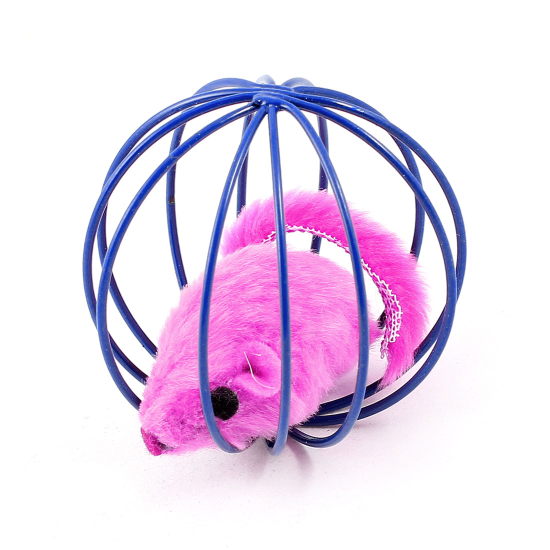 Fuchsia Fake Mouse Rat Blue Ball Shape Cage Pet Training Toy for Cat