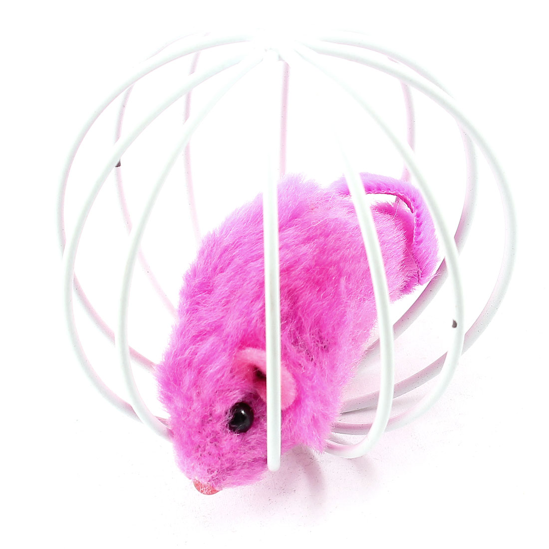 Fuchsia Fake Mouse Rat White Ball Shape Cage Pet Toy for Cat Playing