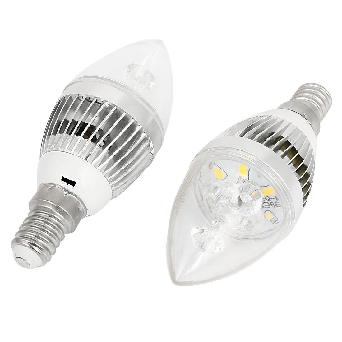 AC100-2260V 3W 2800-3200K Warm White 6 LED E14 Socket Candle Light Bulb 2 Pcs