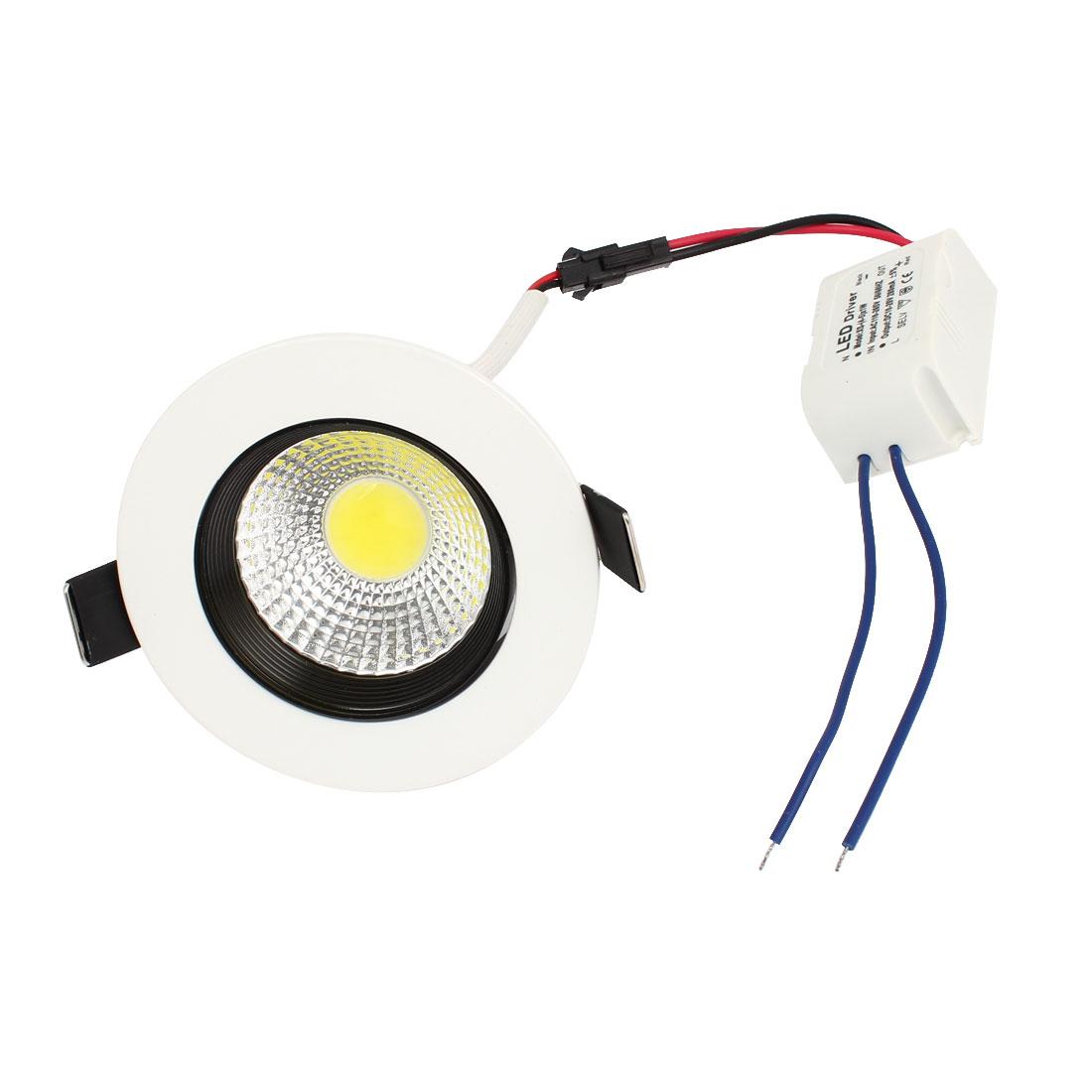 AC110V-265V 5W COB Pure White Ceiling Downlight Recessed Spot Bulb + LED Driver