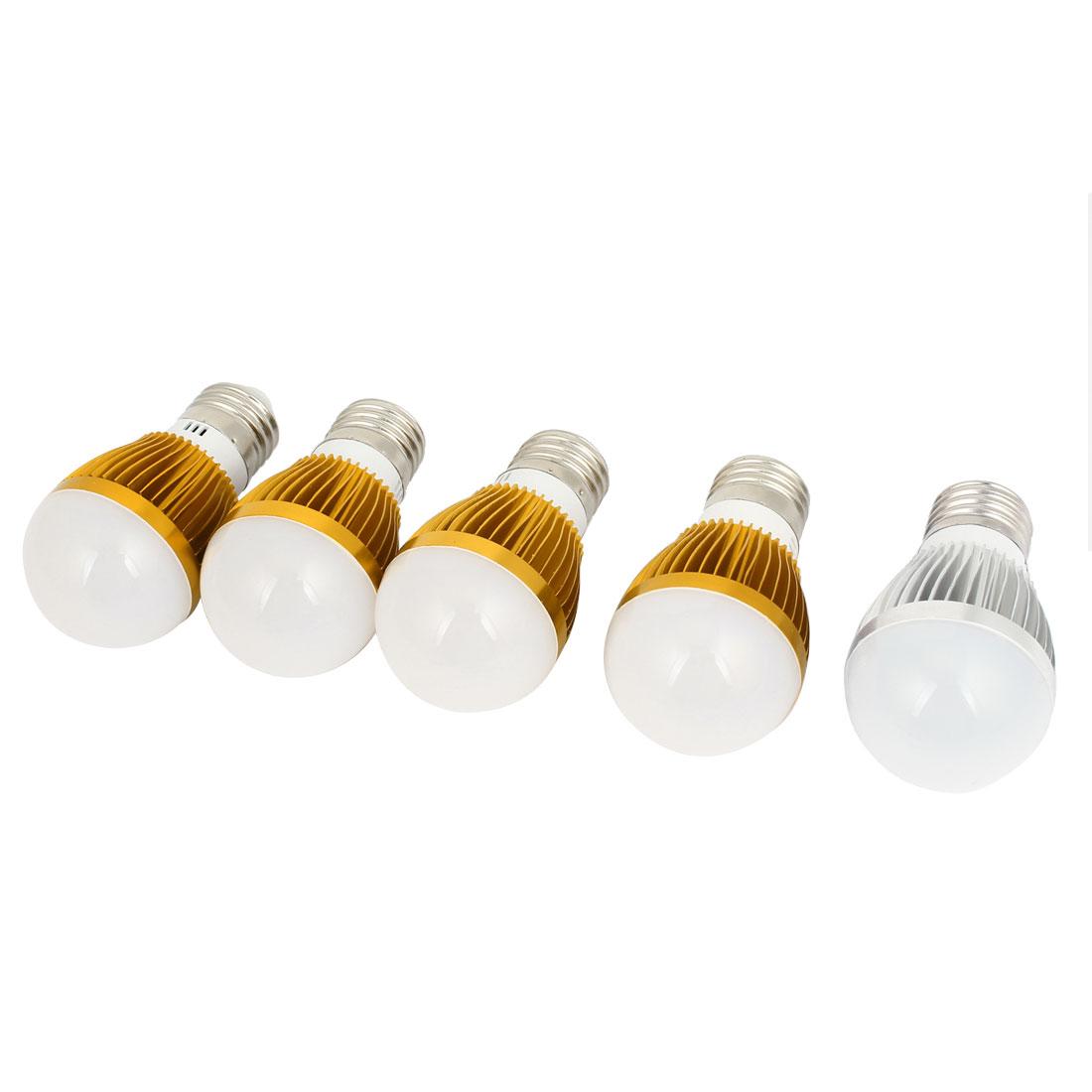 AC220V 3W 2800-3200K Warm White 6-LED E27 Socket Globe Lamp Ball Light 5 Pcs