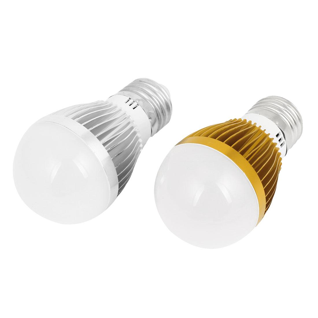 AC220V 3W 2800-3200K Warm White 6 LED E27 Socket Energy Saving Globe Light 2 Pcs