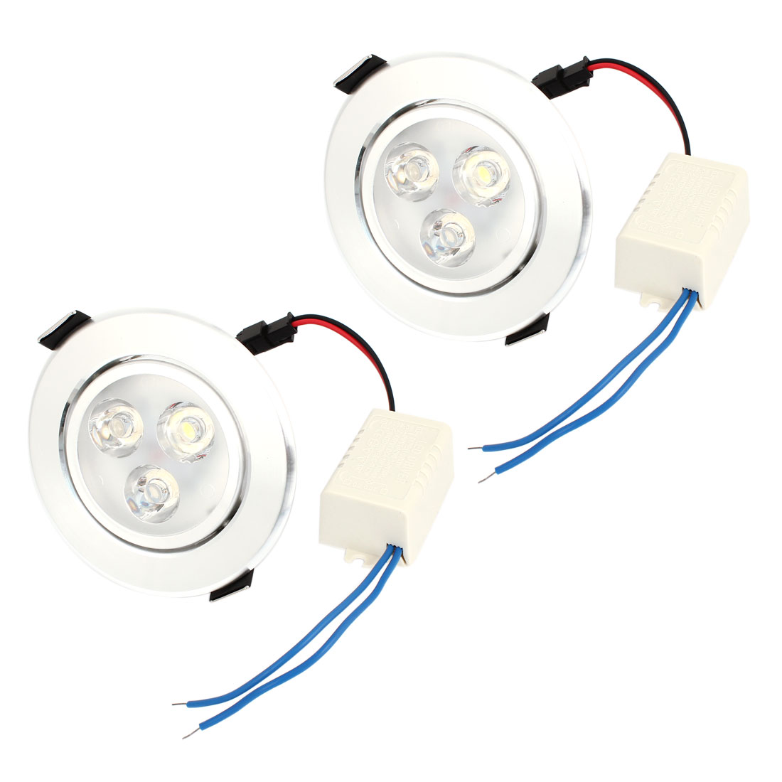 2 Pcs 3W 3 LEDs Recessed Ceiling Downlight Pure White Energy Saving Spot Lamp