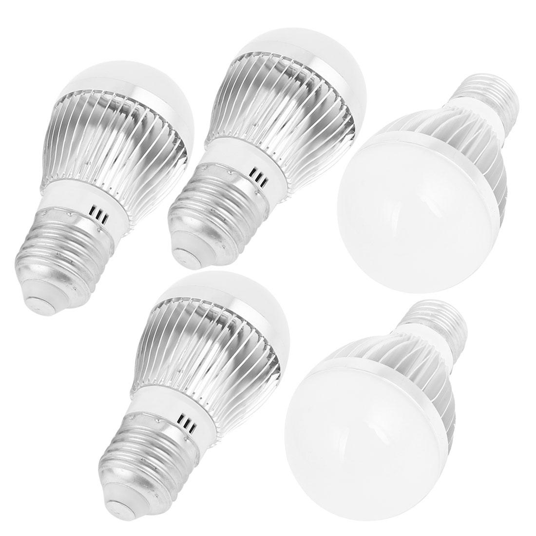 AC 220V 3W E27 SMD 5730 White LED Light Globe Bulb Lighting Fixtures 5 Pcs