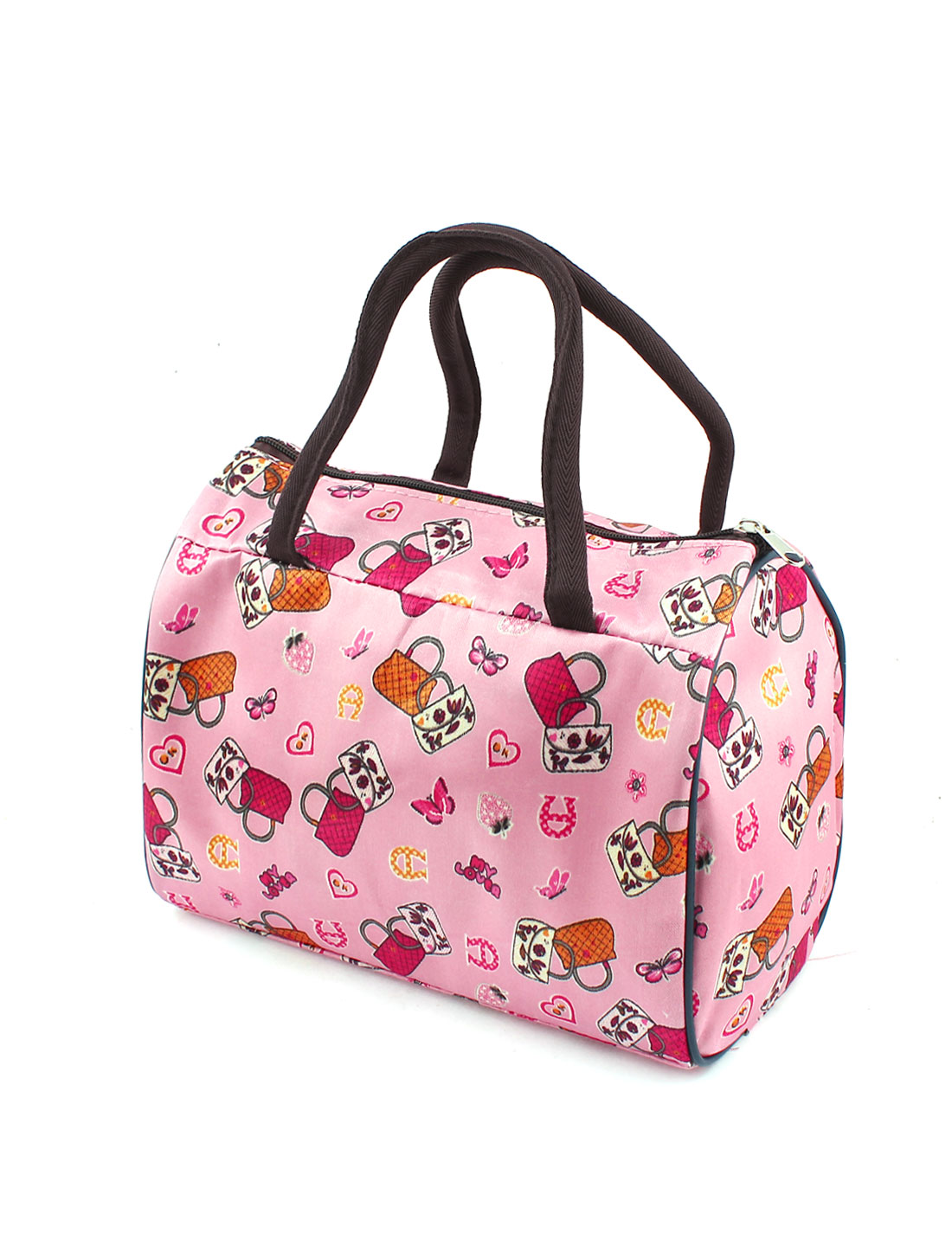 Lady Multicolor Strawberry Butterfly Print Make Up Case Handbag Pink