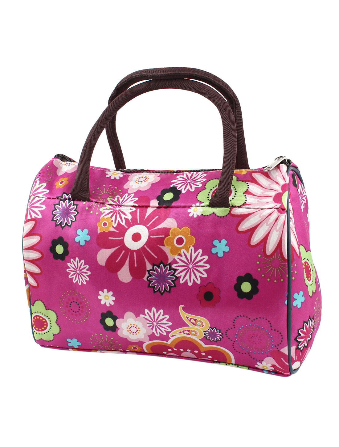 Lady Zipper Closure Multicolor Flower Pattern Tote Bag Handbag Fushcia