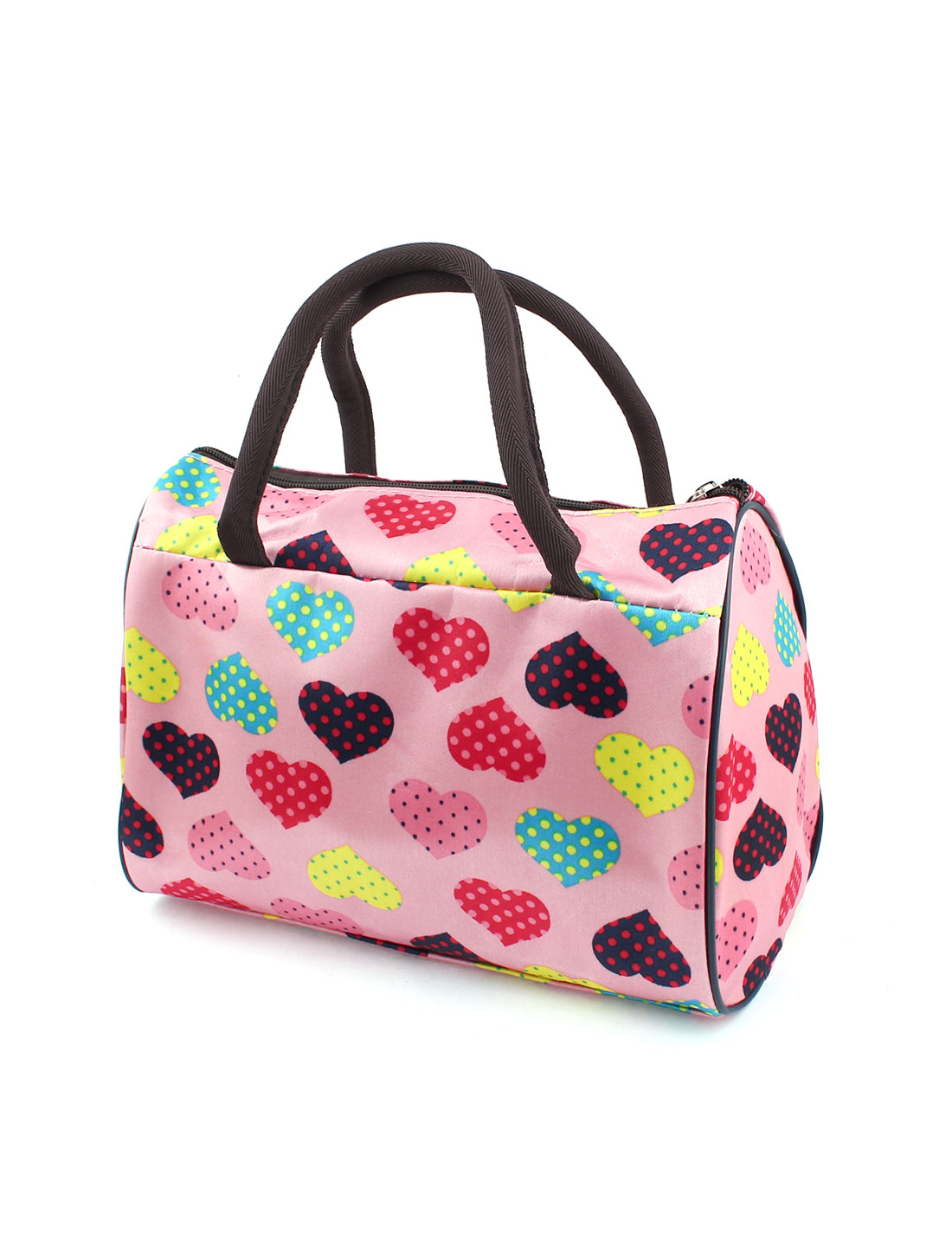 Women Multicolor Heart Pattern Zipper Closure Handbag Bag Pink