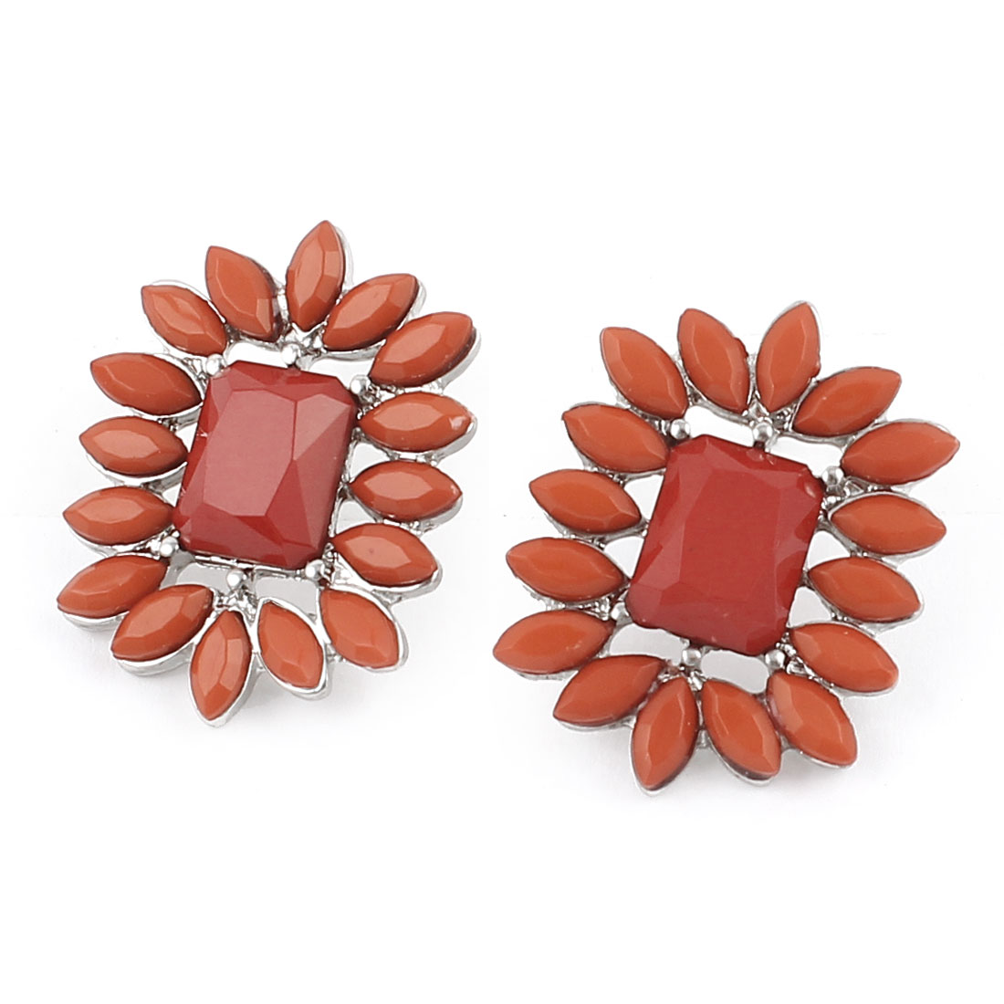Pair Faux Crystal Inlaid Flower Shaped Red Bronze Tone Stud Earrings