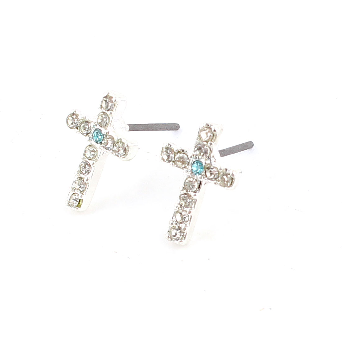 Lady Rhinestone Inlaid Blue Cross Ear Pins Earbob Stud Earrings Pair