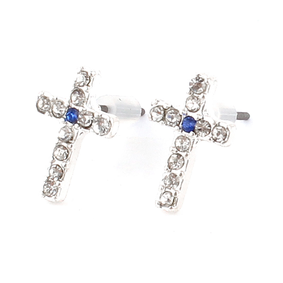 Lady Rhinestone Inlaid Royal Blue Cross Ear Pins Earbob Stud Earrings Pair