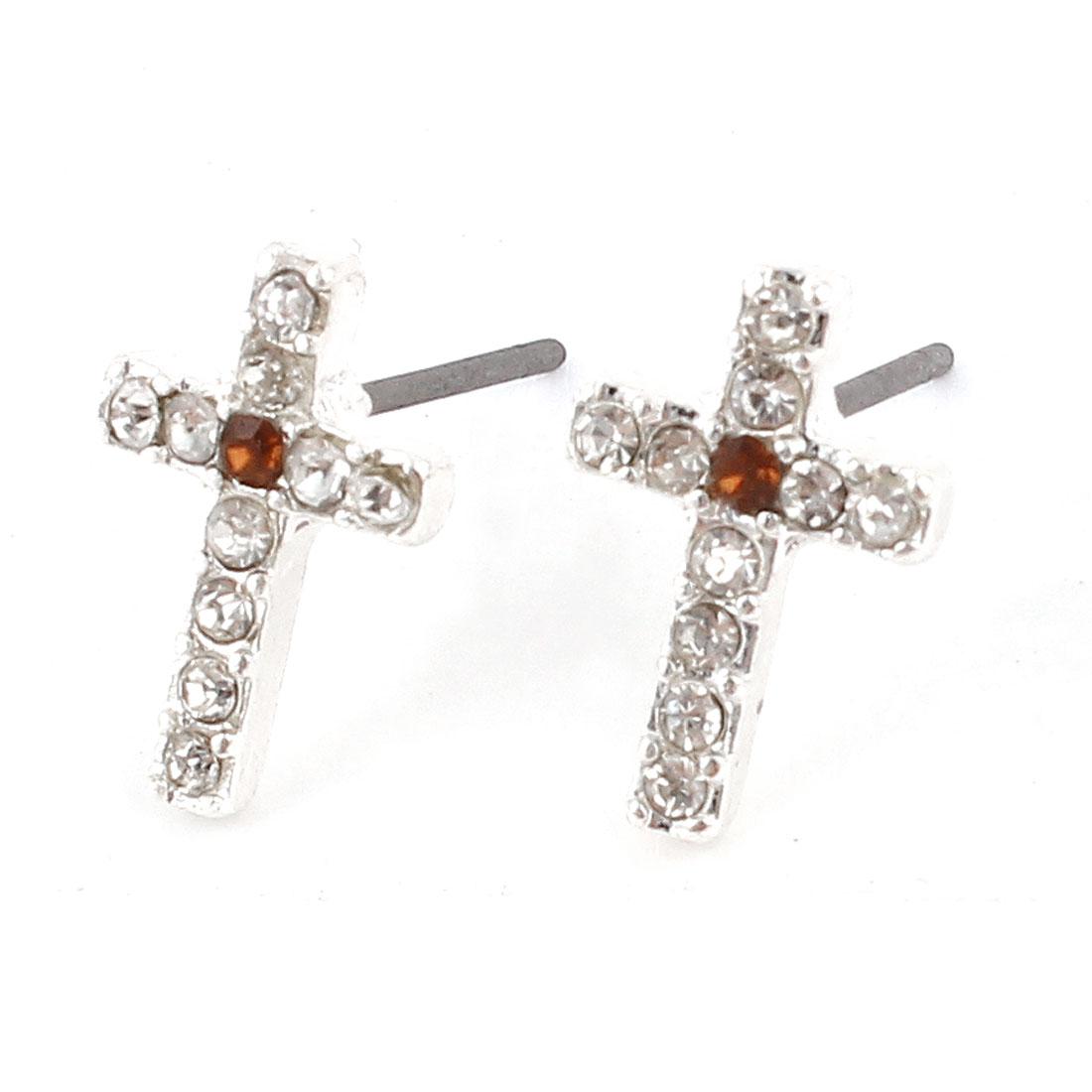Lady Rhinestone Inlaid Orange Cross Ear Pins Earbob Stud Earrings Pair