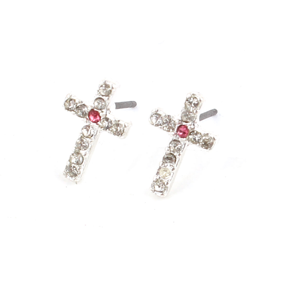 Lady Rhinestone Inlaid Pink Cross Ear Pins Earbob Stud Earrings Pair