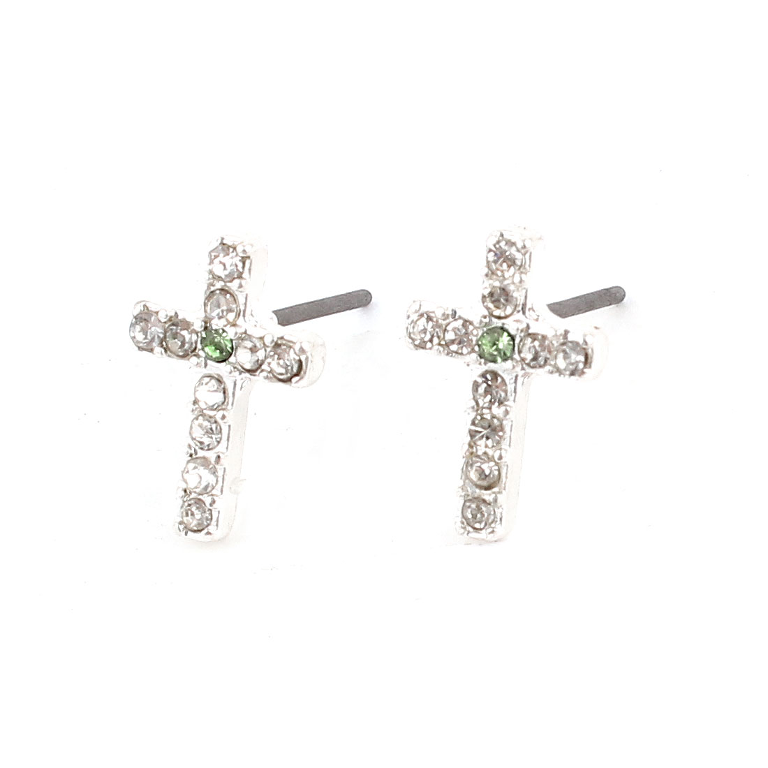 Lady Rhinestone Inlaid Green Cross Ear Pins Earbob Stud Earrings Pair