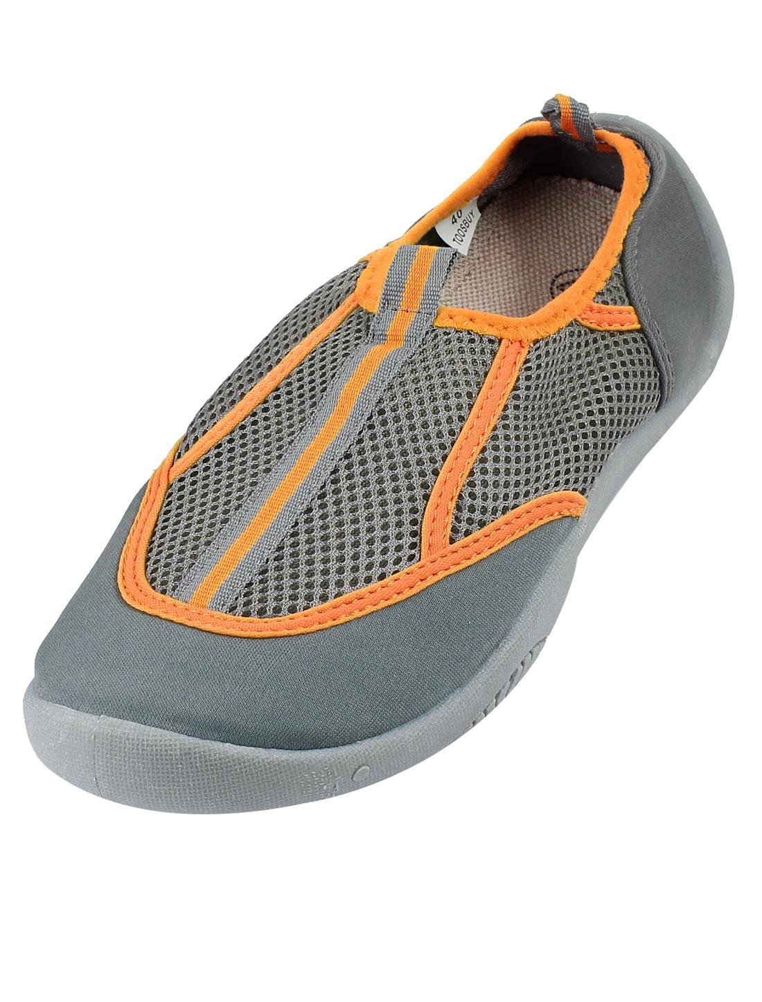 Gray Orange Round Toe Low Platform Flat Beach Mesh Shoes US 9 for Women