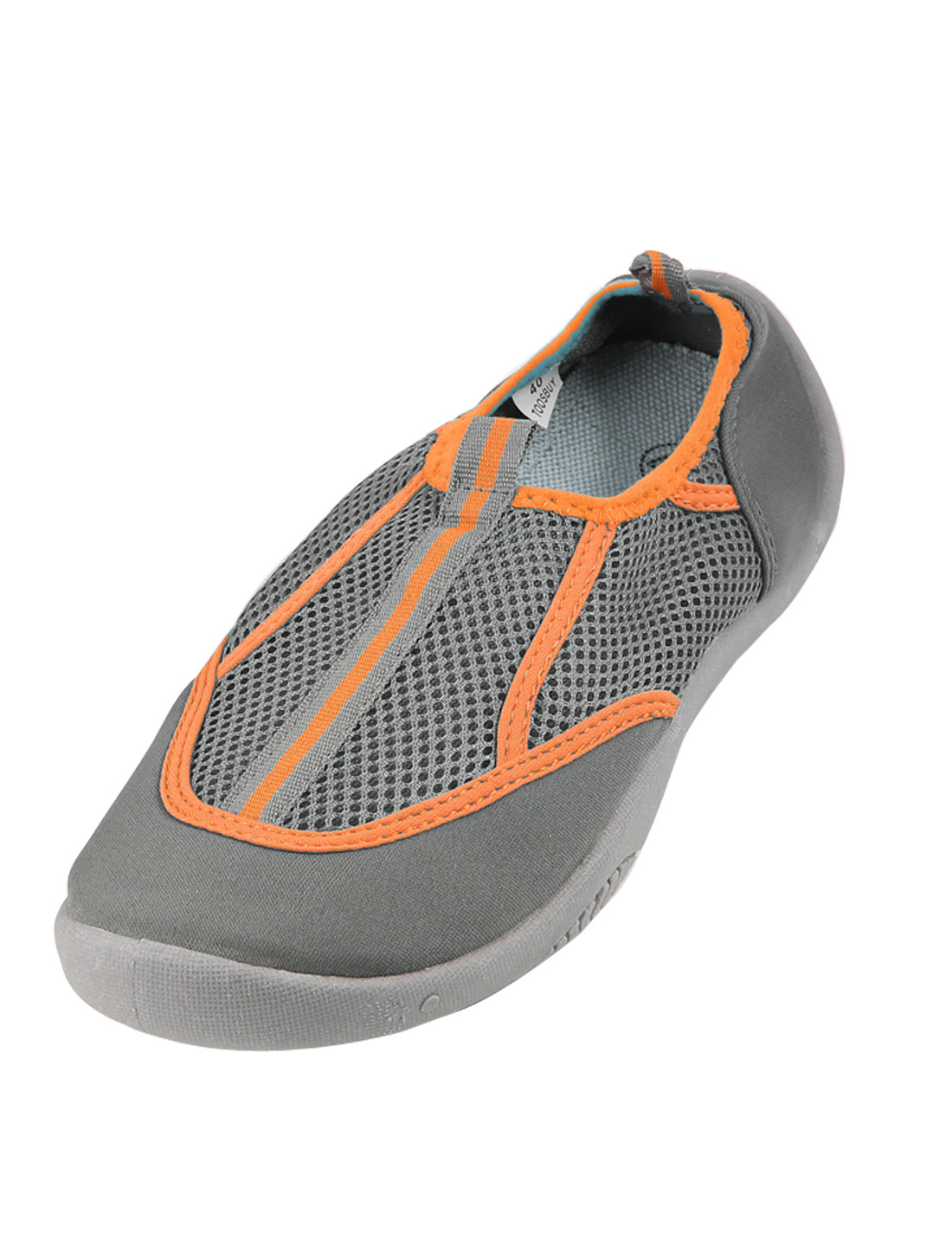 Gray Orange Round Toe Non-skid Sole Low Cut Beach Mesh Shoes US 9.5 for Women