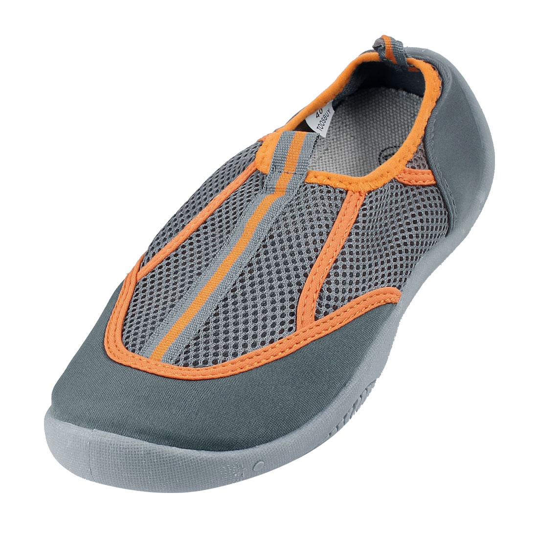 Gray Orange Round Toe Non-skid Sole Low Platform Flat Beach Mesh Shoes US 6 for Lady