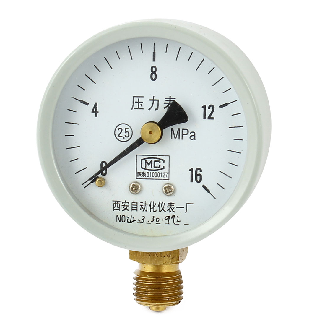 1/4PT Male Threaded 0-16Mpa Pneumatic Air Pressure Measuring Gauge Light Gray