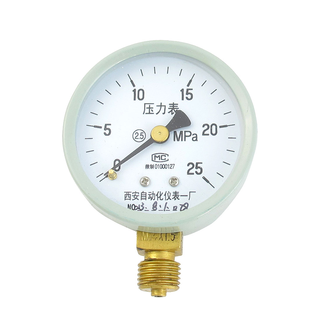 1/4PT Male Threaded 0-25Mpa Pneumatic Air Pressure Measuring Gauge Light Gray