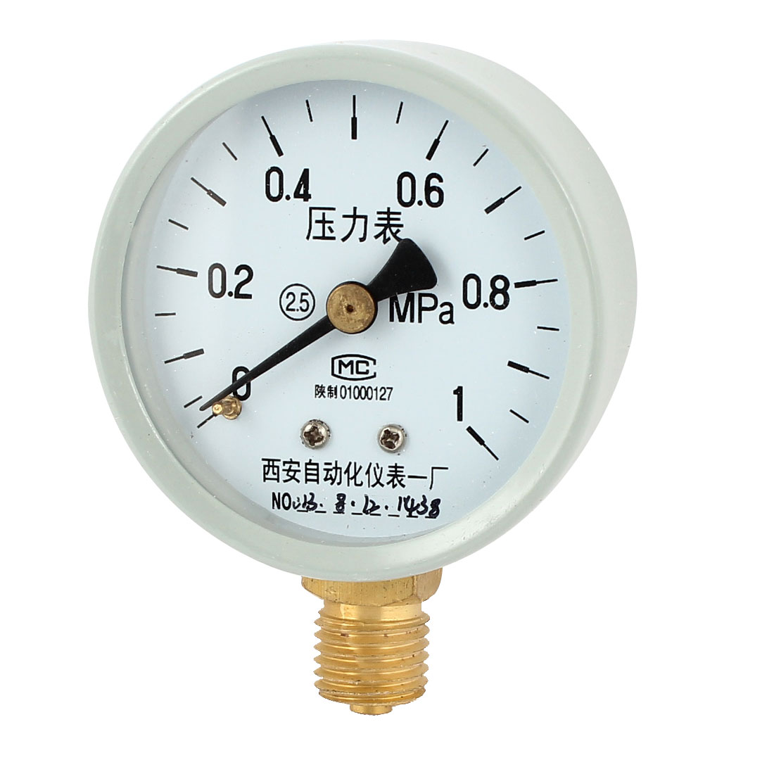 1/4PT Male Threaded 0-1Mpa Pneumatic Air Pressure Measuring Gauge Light Gray