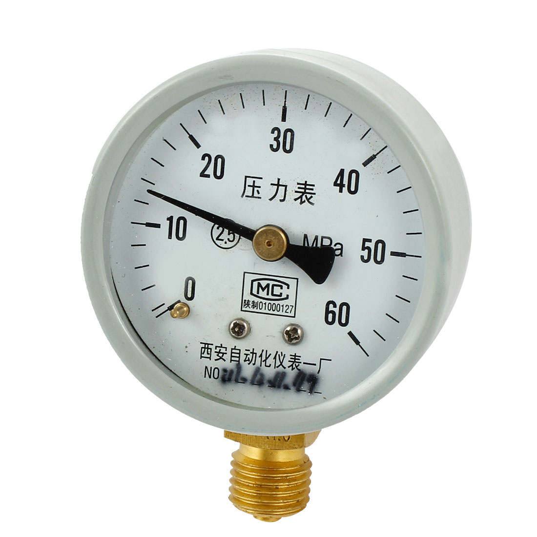 1/4PT Male Threaded 0-60Mpa Pneumatic Air Pressure Measuring Gauge Light Gray