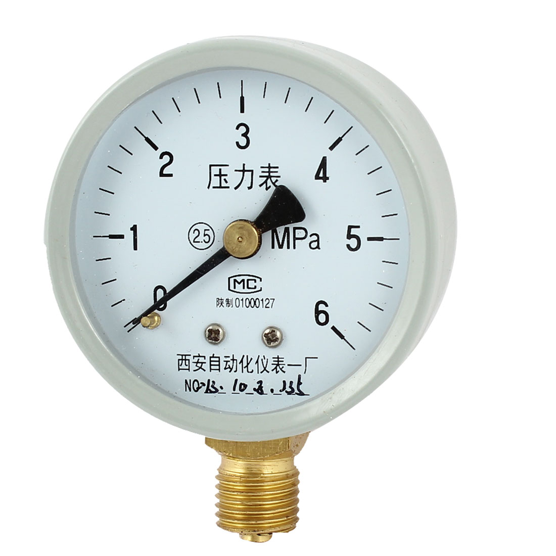 1/4PT Male Threaded 0-6Mpa Pneumatic Air Pressure Measuring Gauge Light Gray