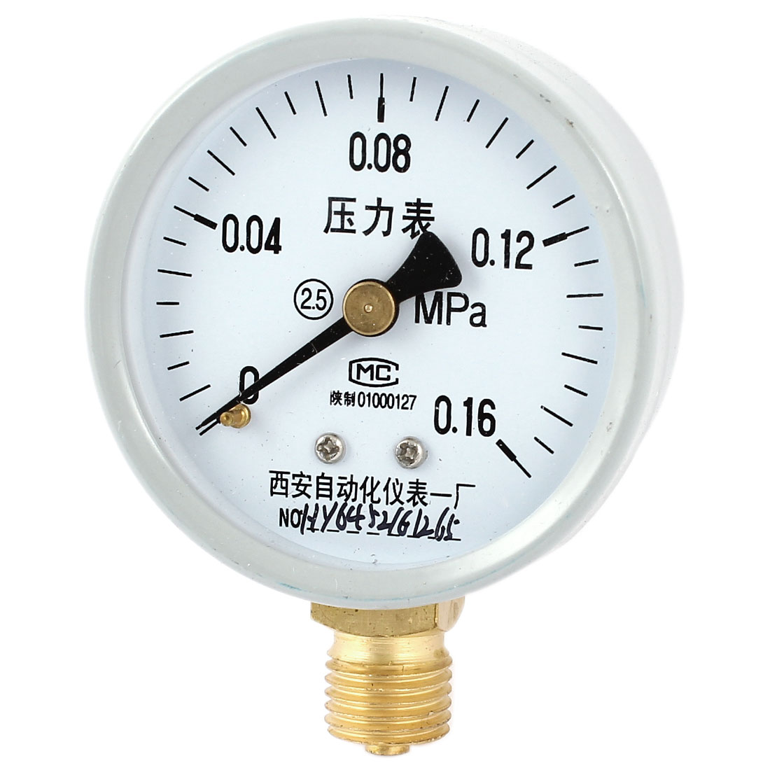 52mm Dial 1/4PT Male Threaded 0-0.16Mpa Pneumatic Air Pressure Measuring Gauge