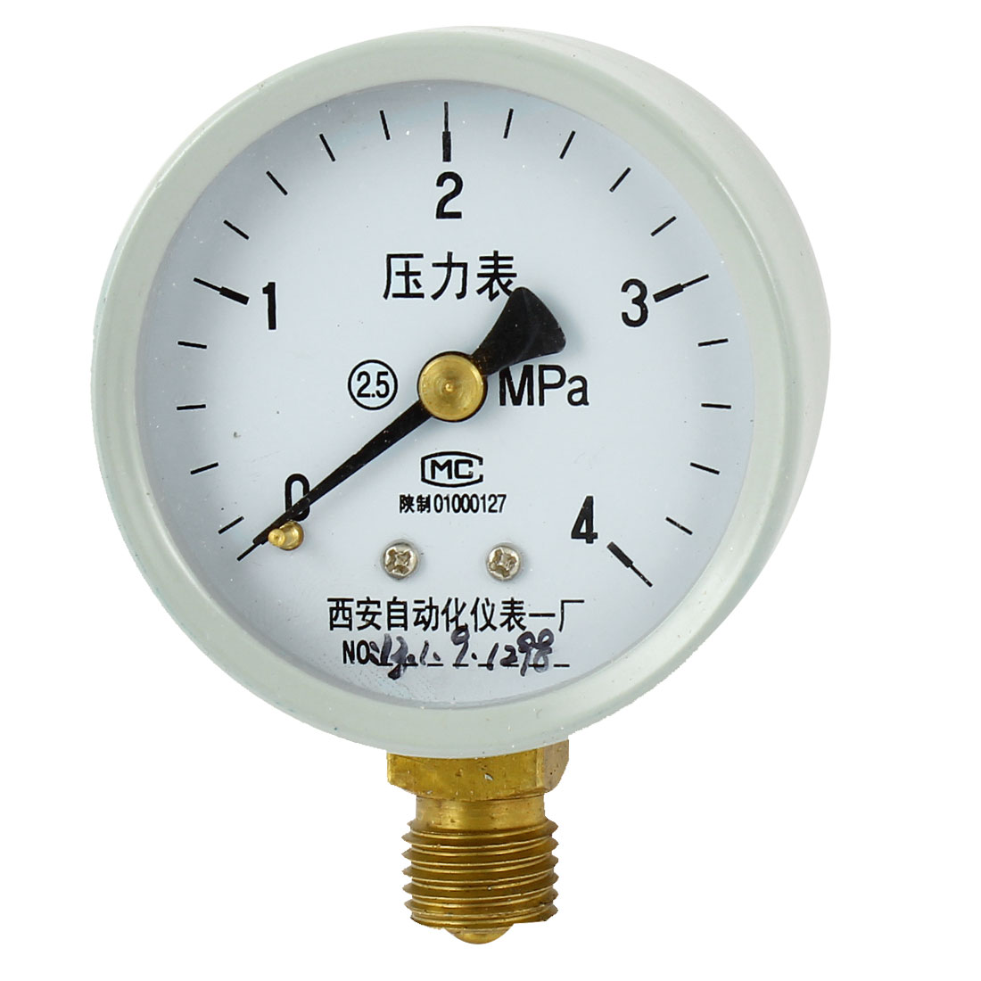 1/4PT Male Threaded 0-4Mpa Pneumatic Air Pressure Measuring Gauge Light Gray
