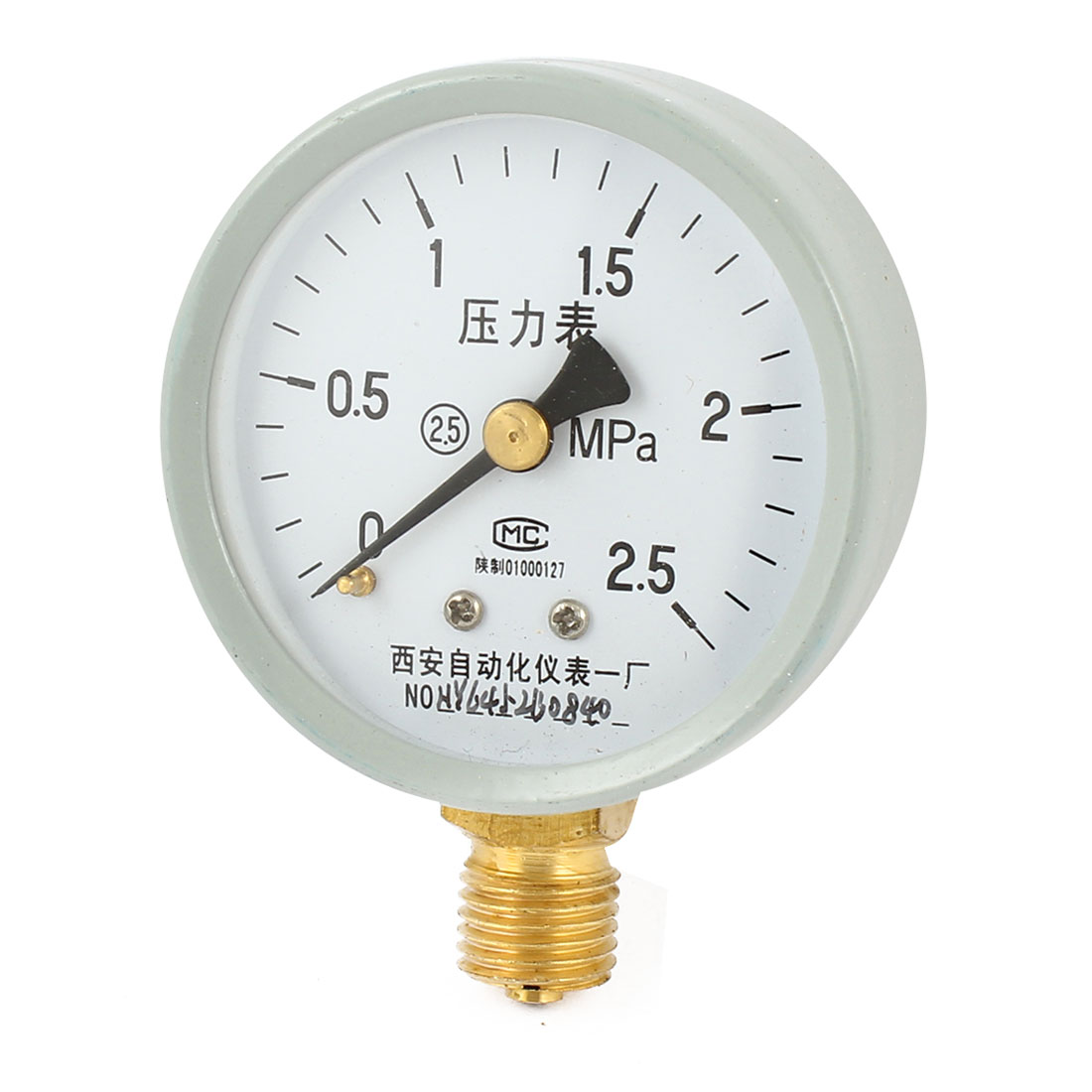 1/4PT Male Threaded 0-2.5Mpa Pneumatic Air Pressure Measuring Gauge Light Gray