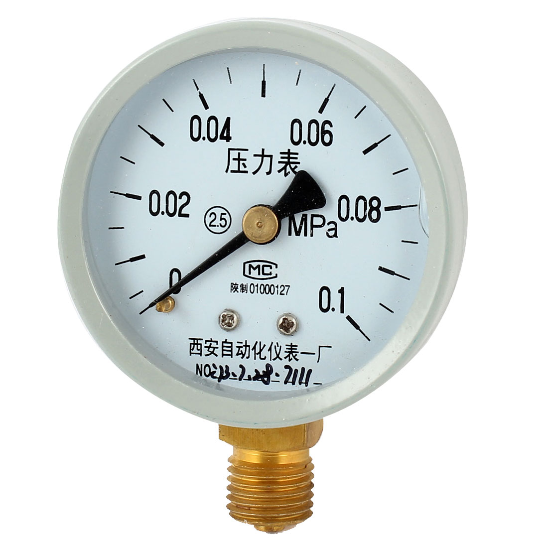 1/4PT Threaded 0-0.1Mpa Pneumatic Air Pressure Measuring Gauge Light Gray