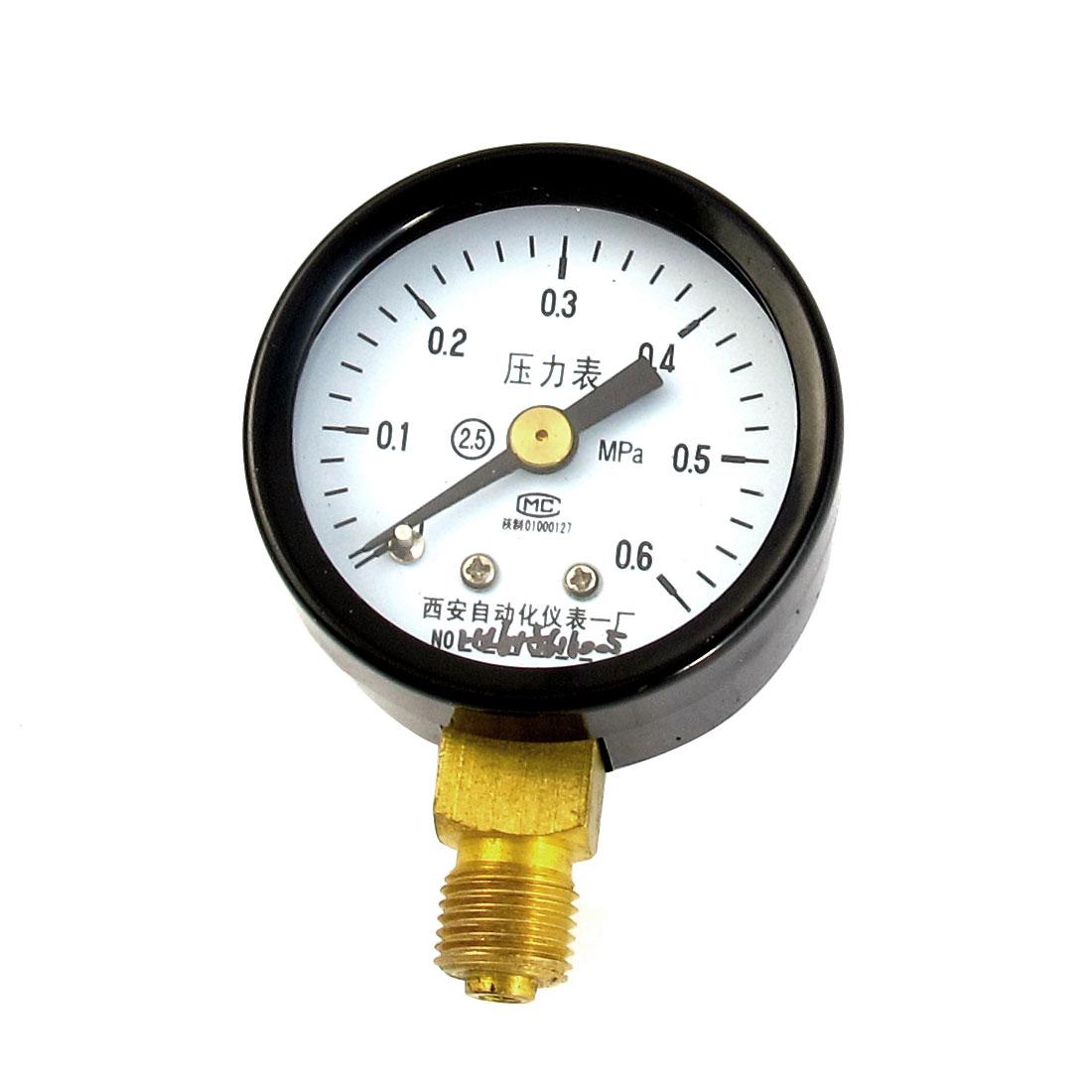 Black Metal Case 1/8PT Male Threaded 0-0.6Mpa Pneumatic Air Pressure Gauge