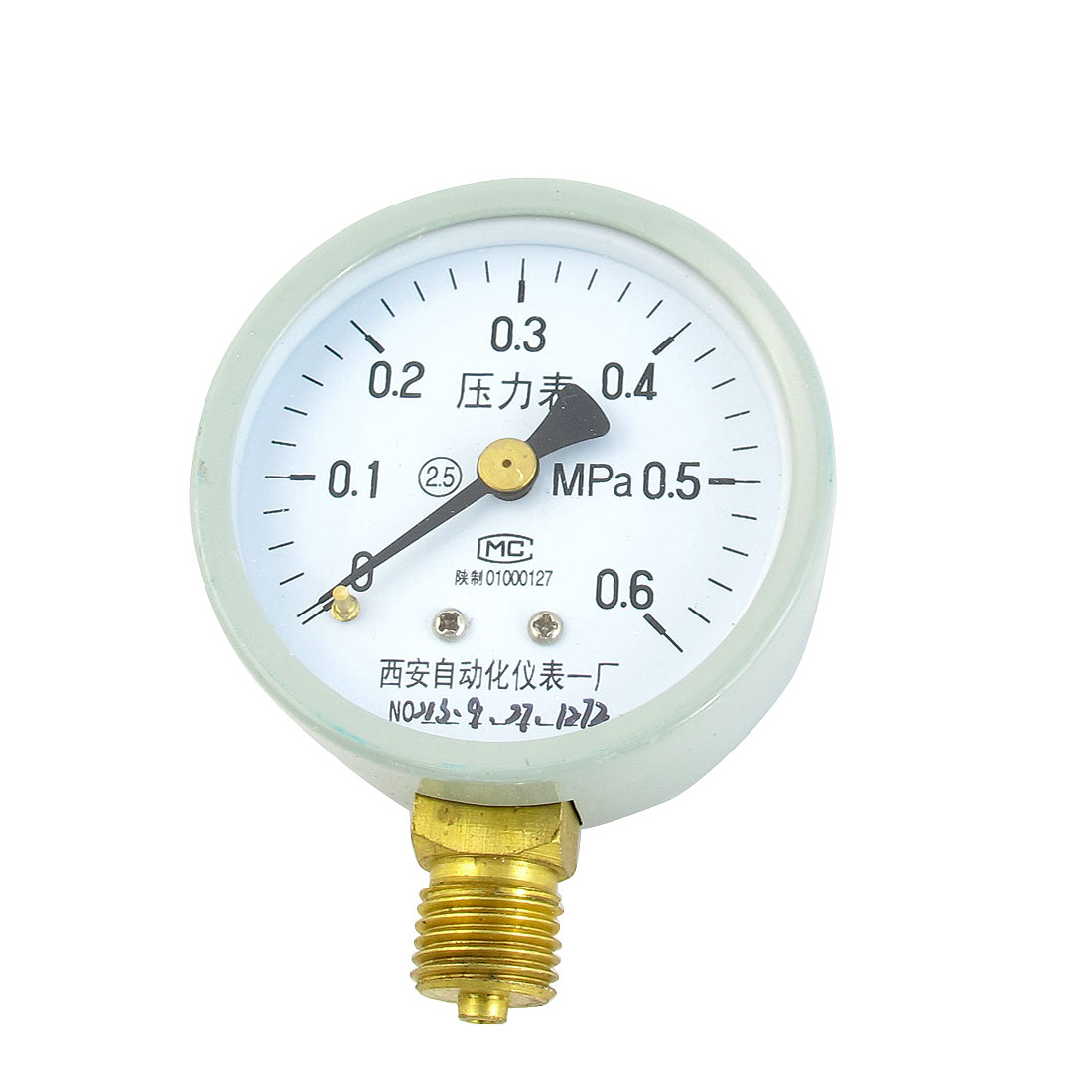 1/4PT Male Threaded 0-0.6Mpa Pneumatic Air Pressure Measuring Gauge Light Gray