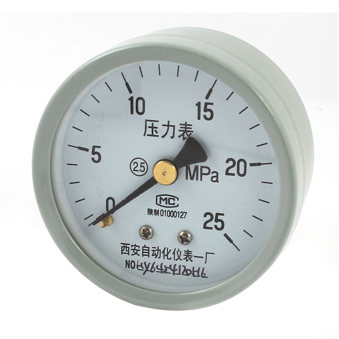 1/4PT Threaded 0-25Mpa Arabic Number Display Air Pressure Measuring Gauge Light Gray