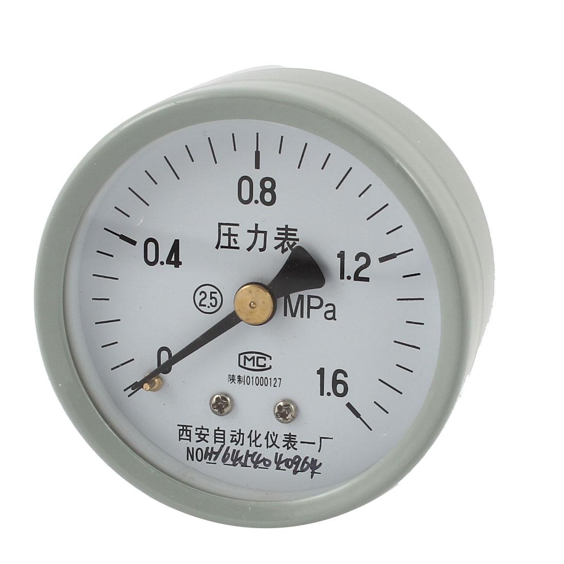 1/4PT Threaded 0-1.6Mpa Arabic Number Display Air Pressure Measuring Gauge